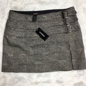 NWT a Express Wool Blend and 3 Buckle Mini Skirt